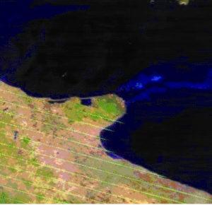 Immagine nel visibile del 24 luglio 2007 in cui sono evidenti i pixel di colore arancio ed i pennacchi di fumo che indicano la presenza degli incendi sul Gargano
