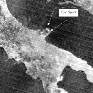 Immagine nelle bande del termico del 24 luglio 2007. In arancione sono evidenziati gli HOT SPOTS in cui è possibile che ci siano degli incendi in atto.