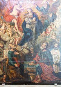Incoronazione della Madonna, con angeli e santi (Chiesa di S. Andrea, presbiterio; fine '700)
