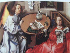 4. La Madonna con il libro nel Trittico dell'Annunciazione (part.) di R. Campin, 1425 ca. (New York, Metropolitan Museum)